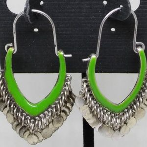 Hoop Earrings Green Fringe Dangle Pierced 1282